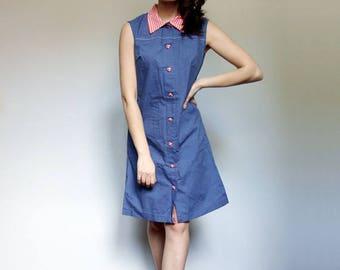 Summer Dress Women Vintage 60s Blue Sundress Gingham Dress 1960s Button Up Dress - Medium M