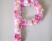 Large Pink Flower Letter or Number Wall Hanging - Girly Floral Letters - Baby Nursery, Shower Gift - Girl Room Decor - Boho Flowery Initials
