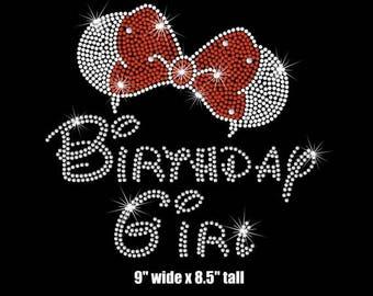 "SALE 9"" adult woman's Minnie Mouse ears Birthday girl iron on rhinestone transfer"