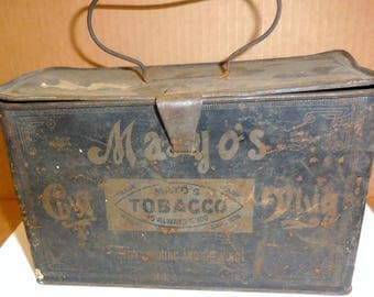 Mayo's  Tobacco Antique Metal Lunch Pail  Tobacciana