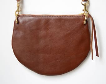 The Mini: Russet brown leather crossbody bag