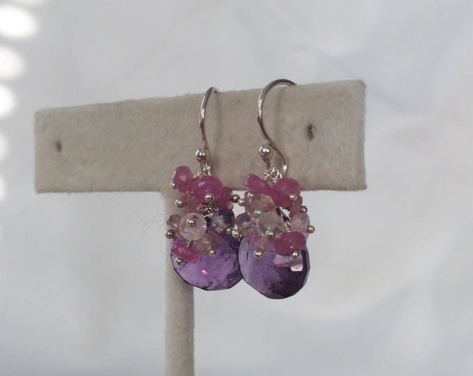 Amethyst Gemstone Boutique Earrings in Silver and Pink Sapphire