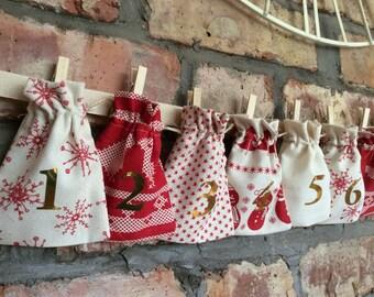 Christmas Advent Calendar - Red & Cream Rustic Scandi Nordic Style - 24 MINI BAGS Garland