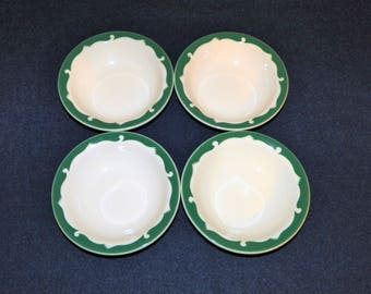 4 McNicol China Restaurant Green Wave Pattern 5 1/8 Inch Dessert or Sauce Bowls Similar to Syracuse Everglade