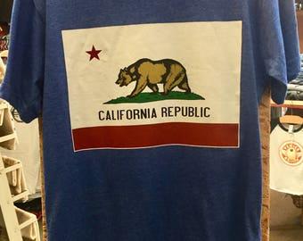 California Republic Bear Flag Graphic T shirt Made in USA  S   M    L   XL