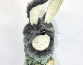 Cloth doll, rabbit, A rather dapper 'Alice Rabbit' with hand embroiderd pocket watch and tapestry waistcoat and mohair body.