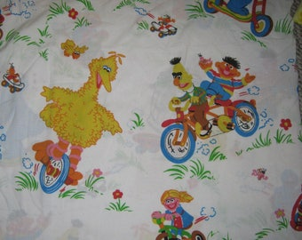Vintage Twin flat Sesame Street bed  sheet
