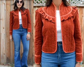 Vintage 70s RUST Colored CROPPED Quilted CORDUROY Jacket S