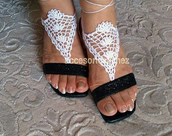 Crochet Barefoot Sandals, Foot Jewelry, Fingerless Gloves, Beach Wedding Barefoot Sandals,Crochet Barefoot Beach Sandals, Barefoot Shoes