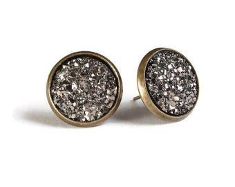 Black silver textured stud earrings - Faux Druzy earrings - Textured earrings - Post earrings - Nickel free - lead free - cadmium free (831)