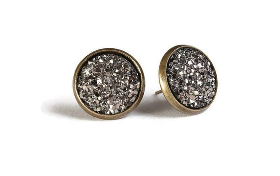 Black silver textured stud earrings - Faux Druzy earrings - Textured earrings - Post earrings - Nickel free - lead free - cadmium free (831)