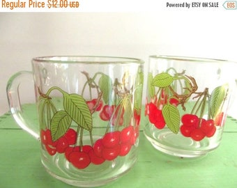 50% OFF EVERYTHING Super Sweet Vintage 80s French Luminarc E. Martin Clear Glass Cherry Coffe Mugs