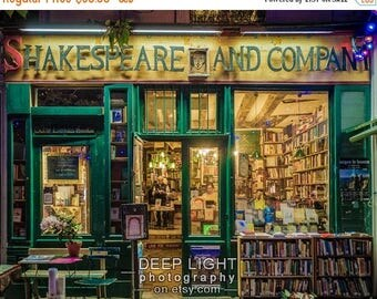 SUMMER SALE-Ends July 5- Photo of Shakespeare and Company Bookstore, Paris Photograph, Paris Bookshop, Gifts For Readers, Green Amber par9