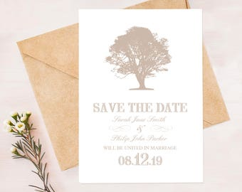 rustic save the date postcard oak tree woodland wedding announcement - printable pdf - diy print yourself, forest engagement card plantation