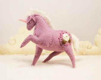 Miniature Stuffed Unicorn - Purple Rose - Tiny embroidered Felt Stuffed Animal