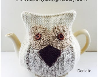 Handmade Owl Teapot Cosy - Pure Wool - Danielle the Snowy Owl - Medium (fits 6 Cup Teapots)
