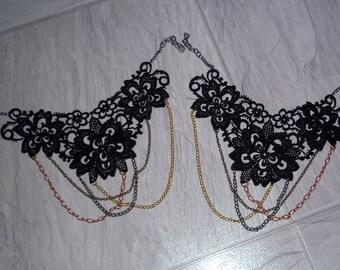 Unique Lace Ankle Art Anklet Black Venise Tripple chain