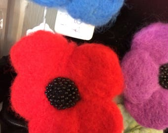Needle Felted Poppy Brooch Corsage