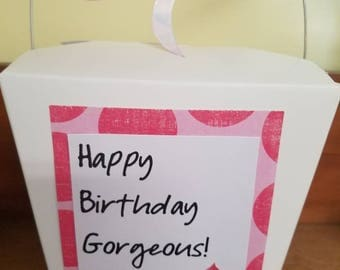 Happy Birthday Gorgeous - birthday gift set- attached card - Body Polish and Perfume - Birthday Cake scent or your choice - gift for her