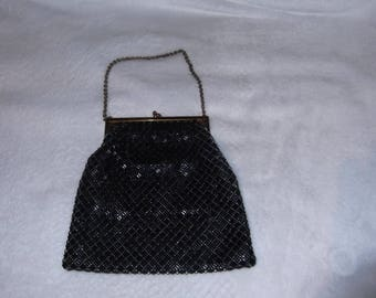 Whiting and Davis Black Beaded Mesh Bag With Gold Frame and Chain Handle