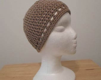 Crochet Hat - Crochet Cap in a Light Brown / Beige