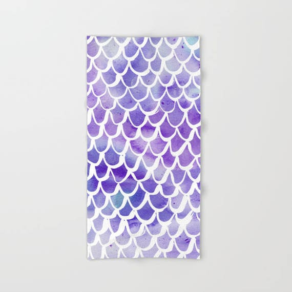 Purple Mermaid towel - Purple hand towel - Mermaid beach towel - Watercolor hand towel - Purple bath towel - Watercolor beach towel