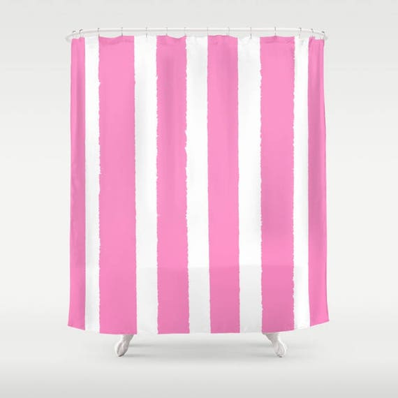 Bubblegum Shower Curtain - Pink Shower Curtain - Modern Shower Curtain - Shower Curtain - Striped Shower Curtain - Pink and White