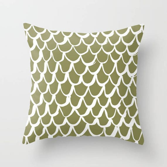 Olive Mermaid Throw Pillow . Green and White Pillow . Olive Green Cushion . Mermaid Pillow . Olive Pillow . Mermaid Cushion 16 18 20 24 inch