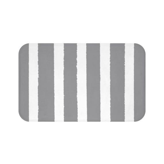 Bath Mat . Grey Bath Mat . Striped Bath Mat . Gray Bath Rug . Grey Shower Mat .  Grey Striped Rug . Slate Gray and White Striped Rug