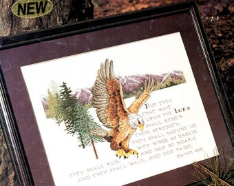 Isaiah Chapter 40 Verse 13 Winged Eagle Pine Tree Mountain Range Counted Cross Stitch Embroidery Craft Pattern Leaflet Leisure Arts 2569