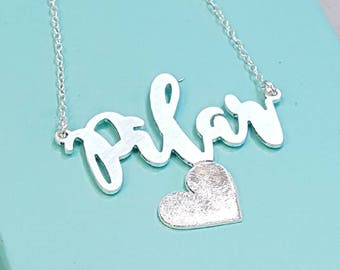 Flourish Name Necklace with Tilted Sparkling Heart, custom, personalized Sterling silver