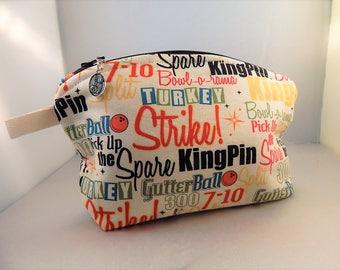 Bowling Alley Tan Print Bowling Pin Zipper Pull Curved Top Makeup Cosmetic Organizer Bag
