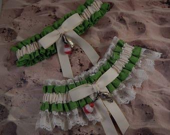 Fishing Lime Green Linen Look Ivory Twill Ivory laceFish Bobber Charm Wedding Bridal Garter Toss Set