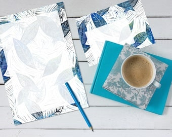 Blue Leaves of Winter 'print your own' letter writing paper set