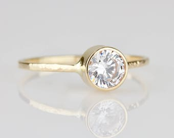 Half Carat 5mm .5 carat Natural White Diamond 14k Gold Engagement Ring - Hammered Solid 14k White or Yellow or Rose Gold - Tiny Delicate