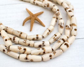 Bone Skull Beads, 1 Inch, 16pc Strand, Skull Beads, Bone Skull, Hand Carved Bone beads -BN19