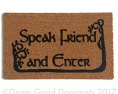 Tolkien - Speak Friend and Enter- with TREES geek nerd nerdy doormat eco friendly outdoor Made in USA ALL waether