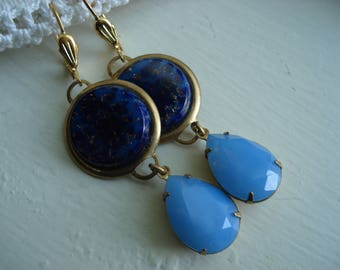 Vintage Art Deco Lapis Lazuli and Blue Opal Faceted Glass Teardrops Gold Earrings