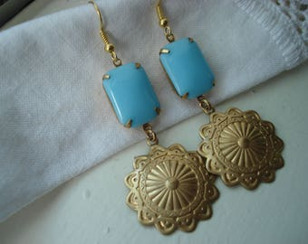 Vintage Art Deco Sleeping Beauty Turquoise Glass Gold Concho Dangle Earrings Native Tribal Inspired