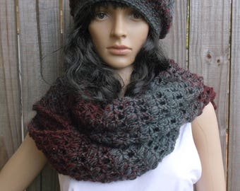 Hand Crochet Oversized Winter Scarf and Hat / BIG Loop Scarf / Large Crochet Scarf,  Chunky Scarf and Beret Set in Grey and Burgundy