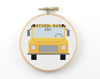 Yellow school bus cross stitch pattern, front view, bus pdf pattern, back to school cross stitch, teacher gift, small cross stitch