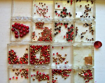 100's of Tiny Red Rhinestones, Rhinestone Jewelry, Found Stash, Cone Back, Not Flat Back, Reds, Lots of Sizes