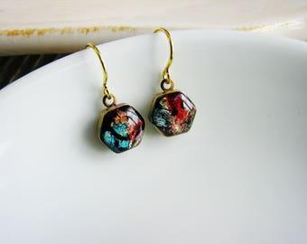 Hexagon Faux Dichroic Glass Earrings, Rainbow Earrings, Resin Jewelry, Colorful Earrings, Gold Flake Earrings