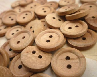 Round Wooden Buttons, 18mm - Natural wood buttons -  Pack of 20