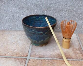 Matcha chawan green tea bowl wheel thrown in stoneware pottery ceramic handmade chasen bamboo whisk handthrown