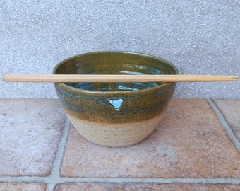 Noodle or rice serving bowl hand thrown in stoneware handmade ceramic wheelthrown pottery