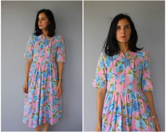 Vintage 1940s Lounge Dress | 40s Dress | 1940s Floral Dress | 40s Day Dress | 40s Cotton Dress - (small/medium)