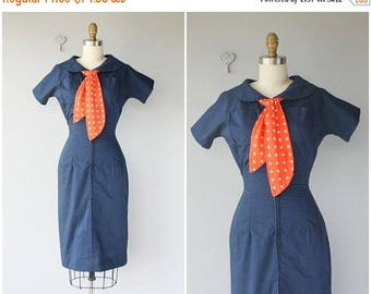 48 HR FLASH SALE Vintage 1950s Dress   50s Navy Blue Day Dress   1950s Cotton Day Dress   50s Wiggle Dress   40s Dress   1940s Dress - (x-sm