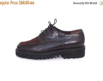 30% OFF Vintage 80s Chocolate Brown Suede and Leather Lace Up Platform Oxfords  7 7.5