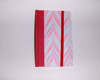 Marbled paper  address book with elastic . Hand bounded Florentine style -   cm 11 x cm 7.  1022